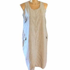 Venezia 14/16 Linen Blend Dress Grey & White